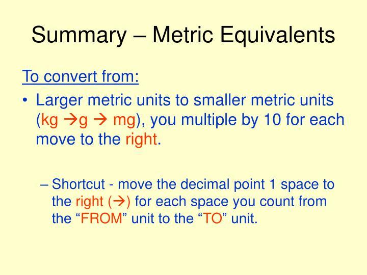 Summary – Metric Equivalents