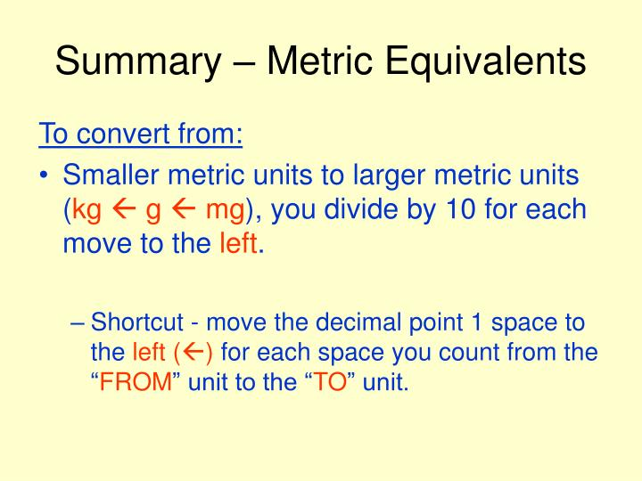 Summary – Metric Equivalents