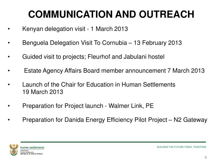 COMMUNICATION AND OUTREACH