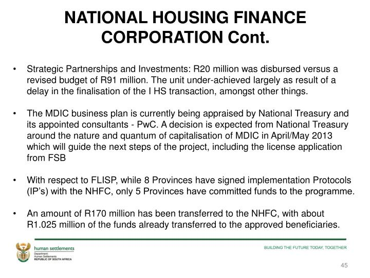 NATIONAL HOUSING FINANCE CORPORATION