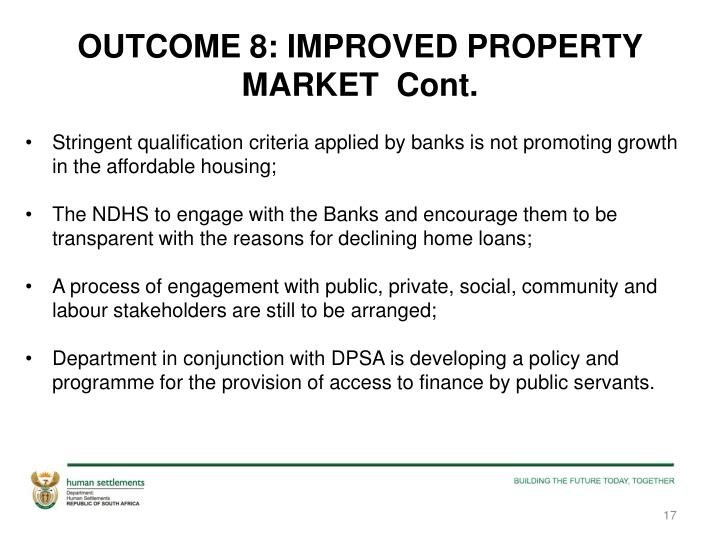OUTCOME 8: IMPROVED PROPERTY MARKET  Cont.