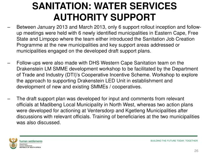 SANITATION: WATER SERVICES AUTHORITY SUPPORT