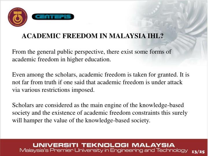 ACADEMIC FREEDOM IN MALAYSIA IHL?