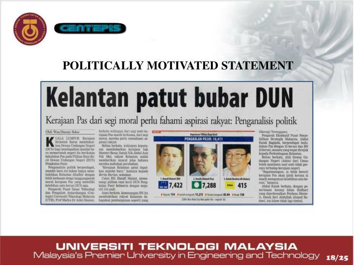 POLITICALLY MOTIVATED STATEMENT