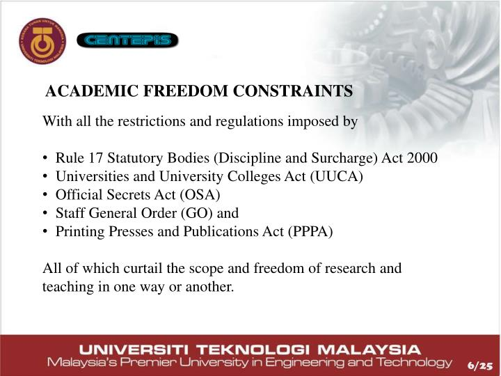 ACADEMIC FREEDOM CONSTRAINTS