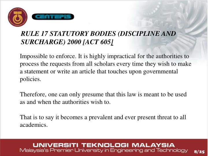 Rule 17 Statutory Bodies (Discipline and Surcharge) 2000 [Act 605