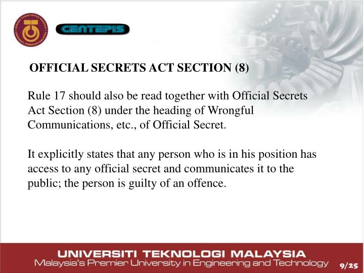 Official Secrets Act Section (8