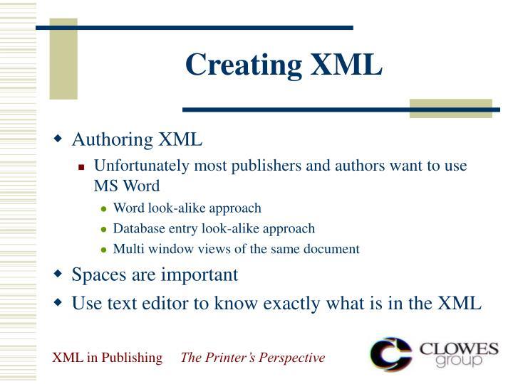 Creating XML