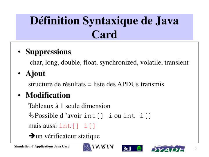 Définition Syntaxique de Java Card