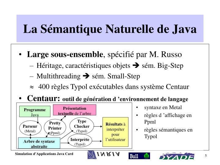 La Sémantique Naturelle de Java