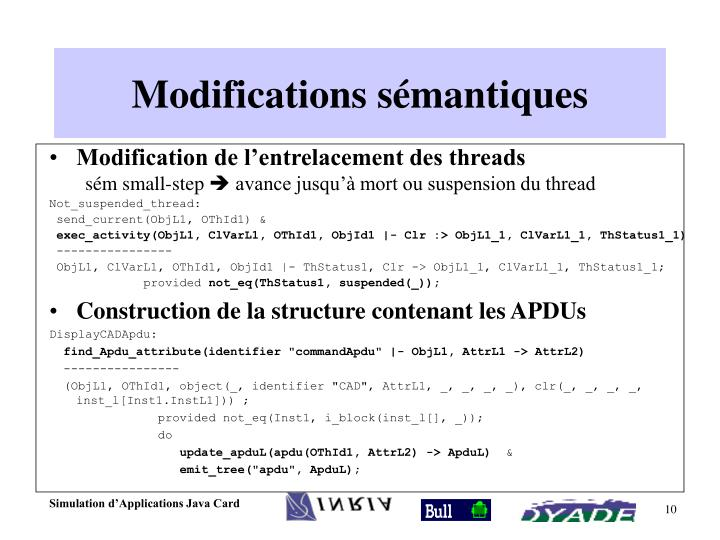 Modifications sémantiques