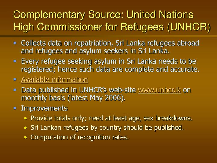 Complementary Source: United Nations  High Commissioner for Refugees (UNHCR)