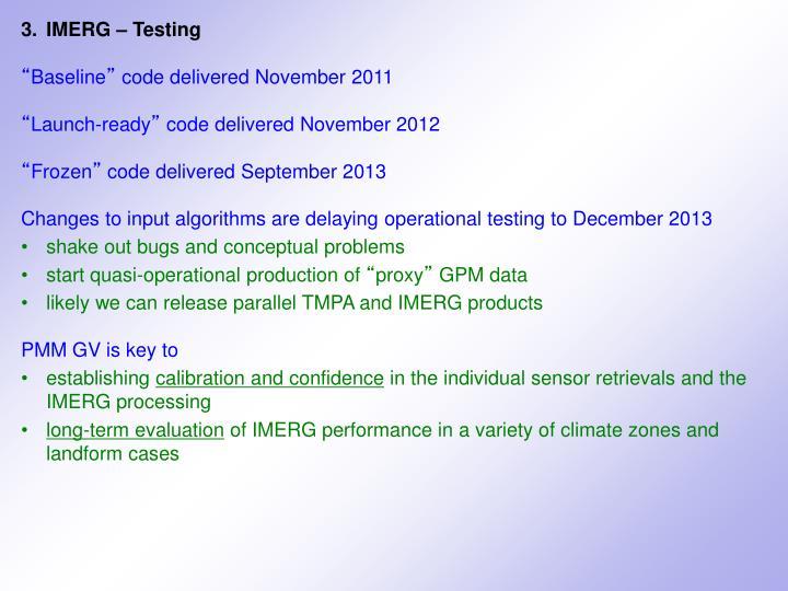3.IMERG – Testing
