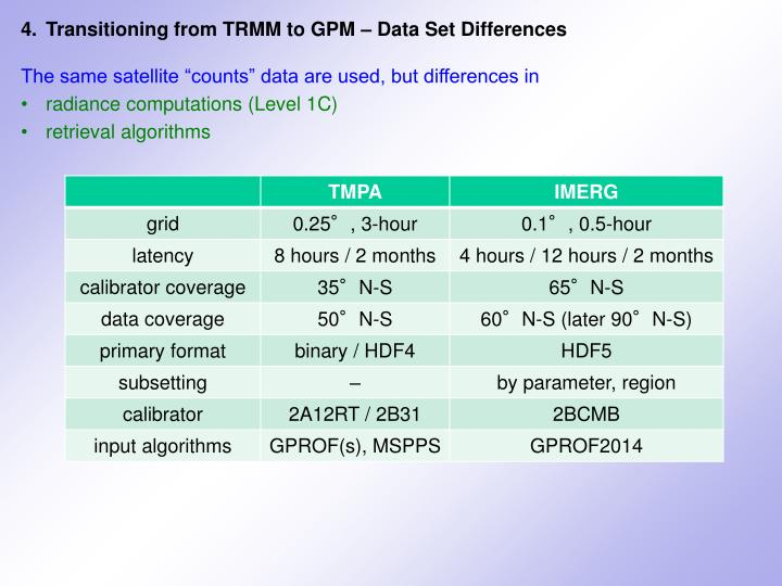 4.	Transitioning from TRMM to GPM – Data Set Differences