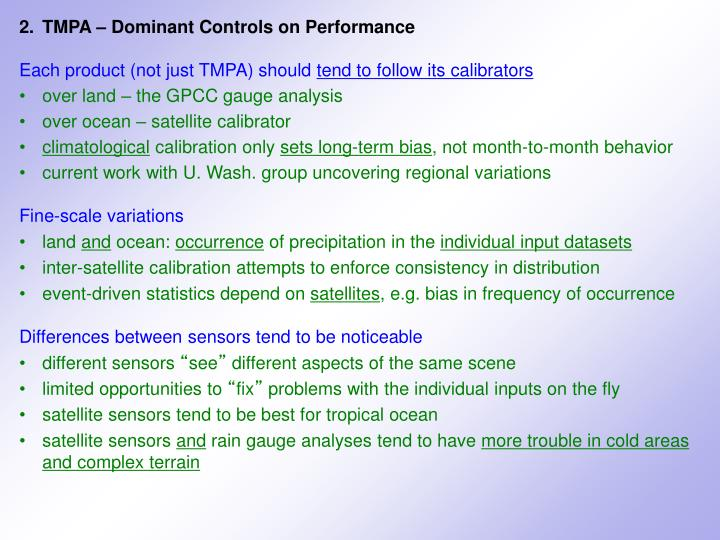 2.	TMPA – Dominant Controls on Performance