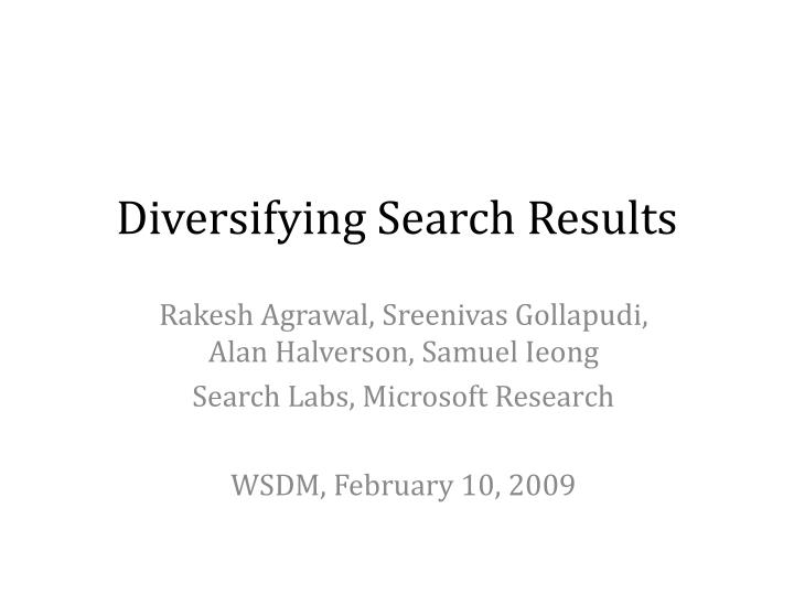Diversifying search results