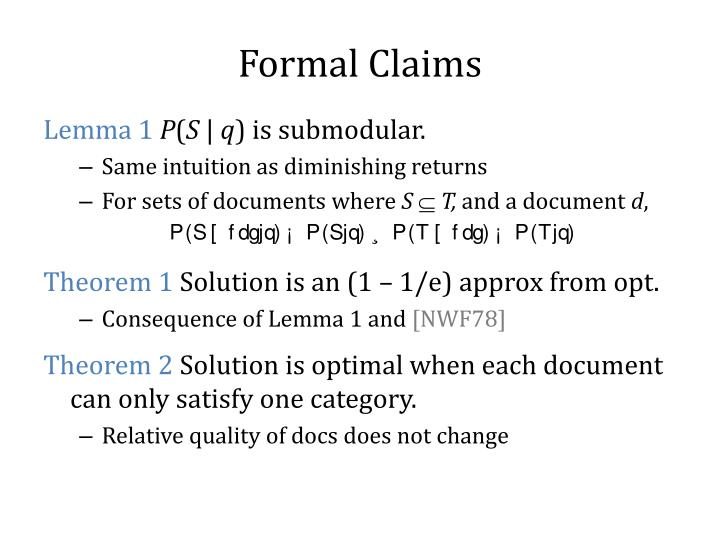 Formal Claims