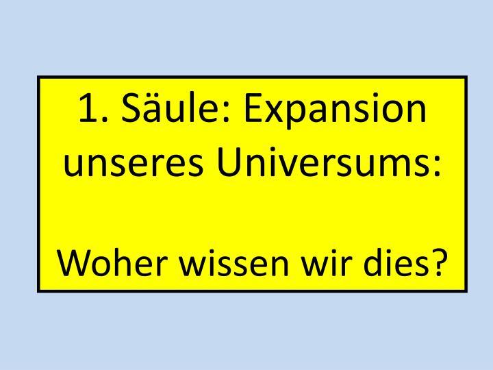 1. Säule: Expansion unseres Universums: