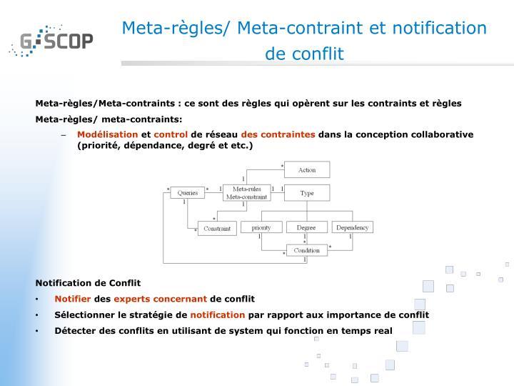 Meta-règles/ Meta-contraint et notification de conflit