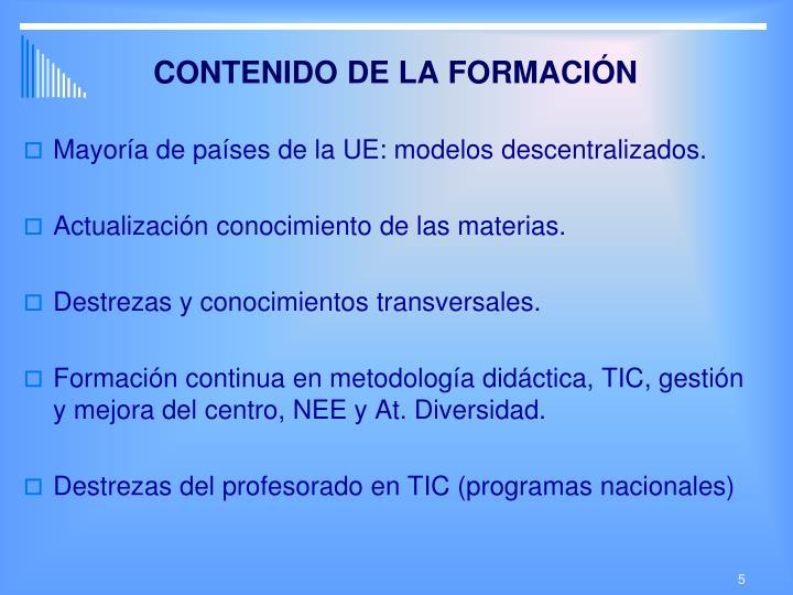 CONTENIDO DE LA FORMACIÓN