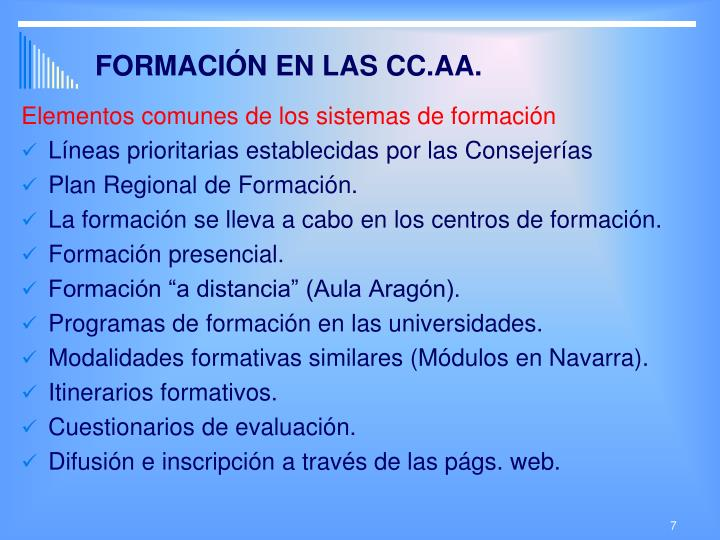 FORMACIÓN EN LAS CC.AA.