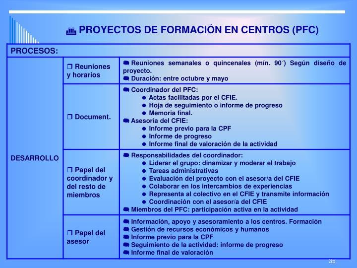 PROYECTOS DE FORMACIÓN EN CENTROS (PFC)