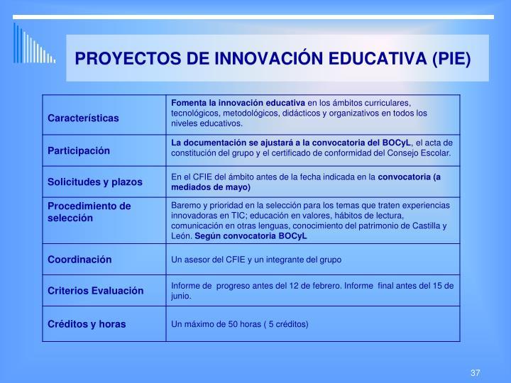 PROYECTOS DE INNOVACIÓN EDUCATIVA (PIE)