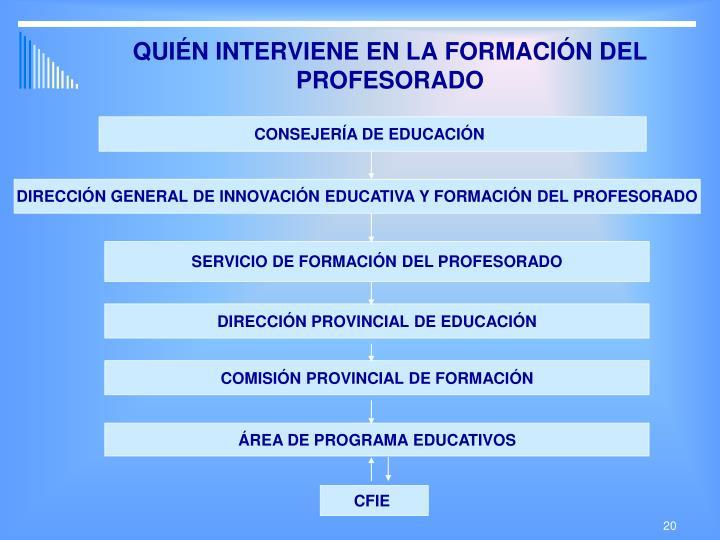QUIÉN INTERVIENE EN LA FORMACIÓN DEL PROFESORADO
