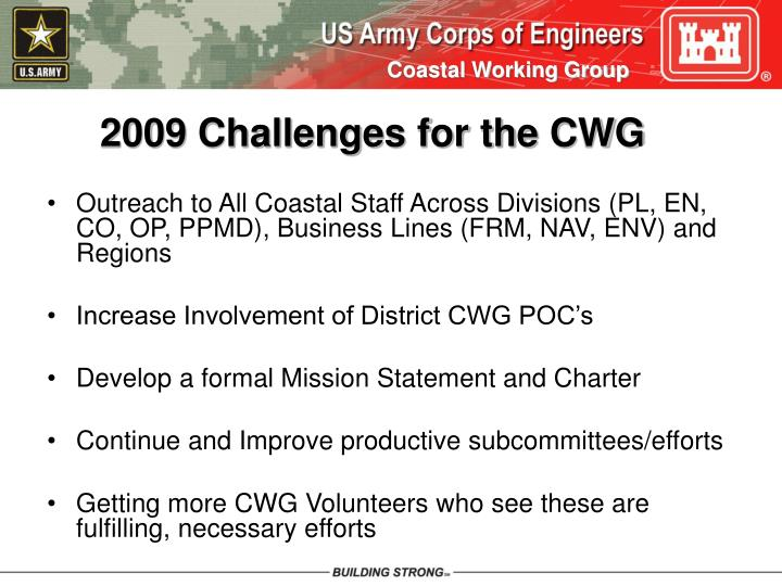 2009 Challenges for the CWG