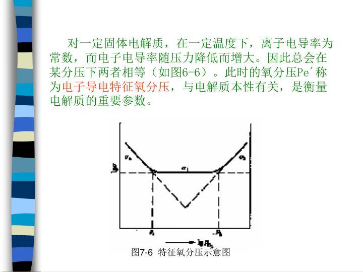 对一定固体电解质,在一定温度下,离子电导率为常数,而电子电导率随压力降低而增大。因此总会在某分压下两者相等(如图