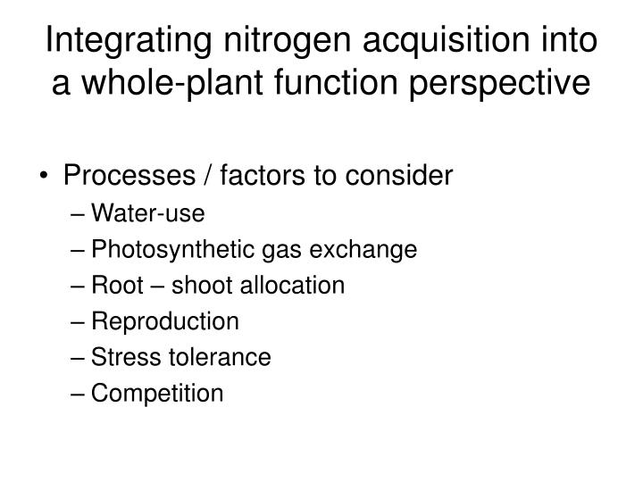 Integrating nitrogen acquisition into a whole-plant function perspective