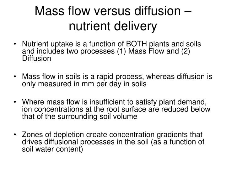 Mass flow versus diffusion – nutrient delivery