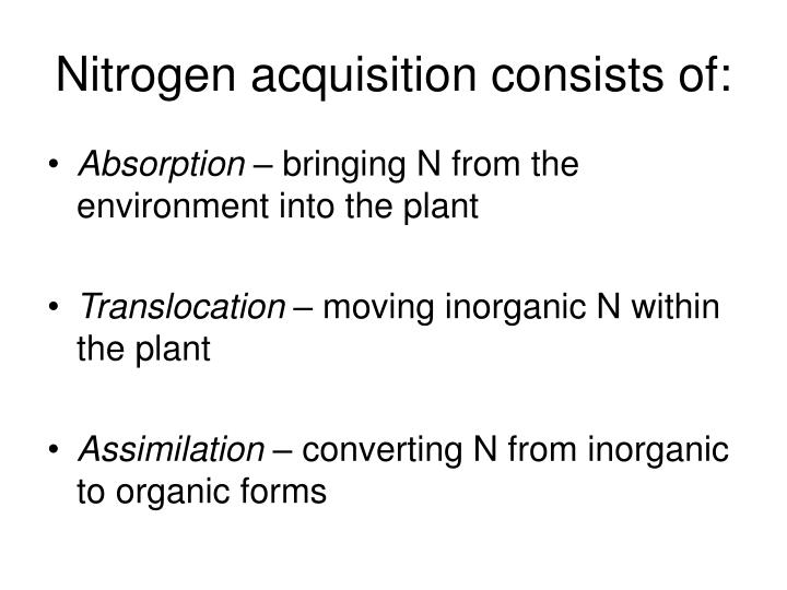 Nitrogen acquisition consists of: