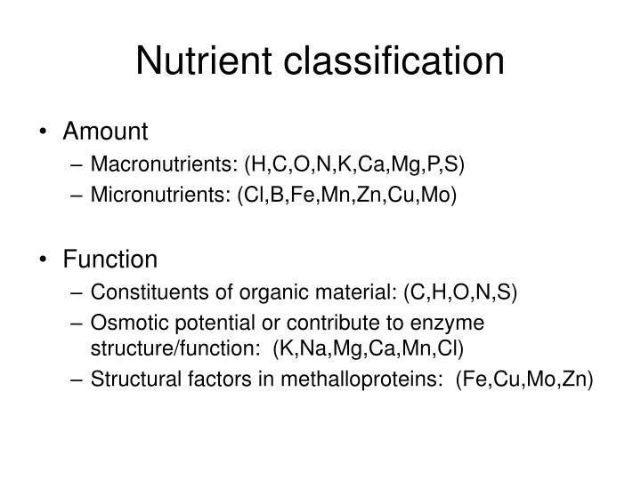 Nutrient classification