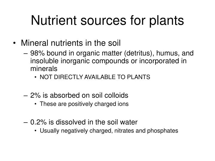 Nutrient sources for plants