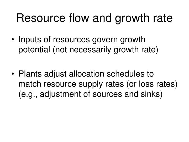 Resource flow and growth rate