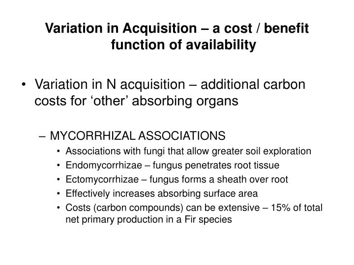 Variation in Acquisition – a cost / benefit function of availability