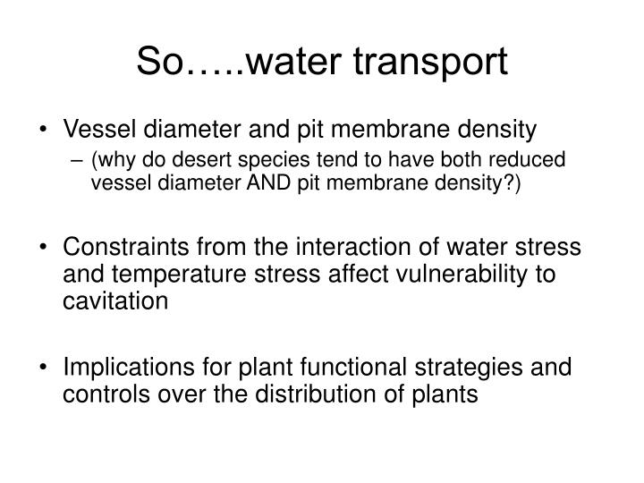 So…..water transport