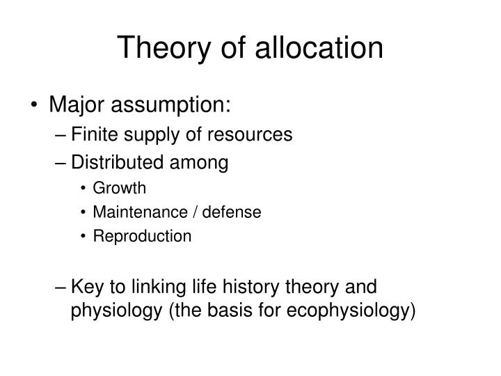 Theory of allocation