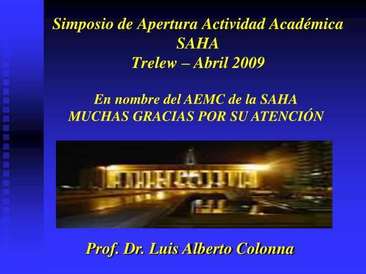 En nombre del AEMC de la SAHA