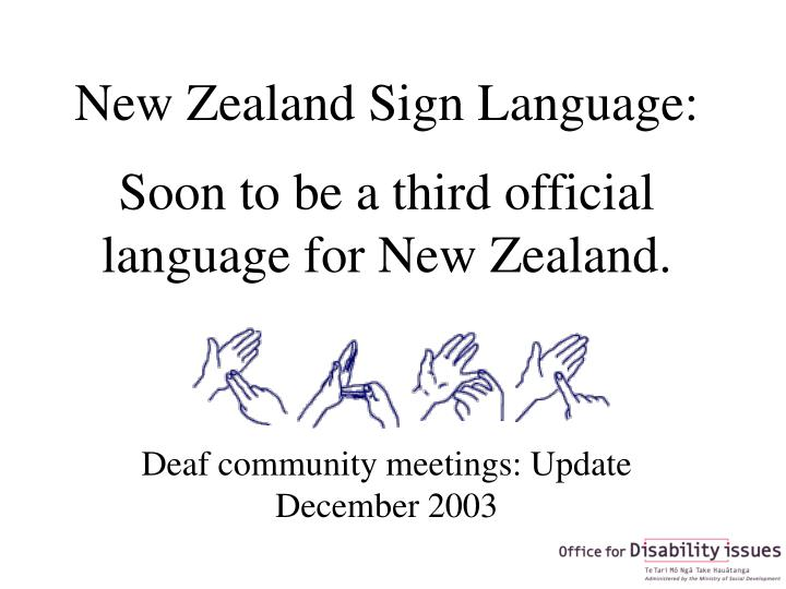 New Zealand Sign Language:
