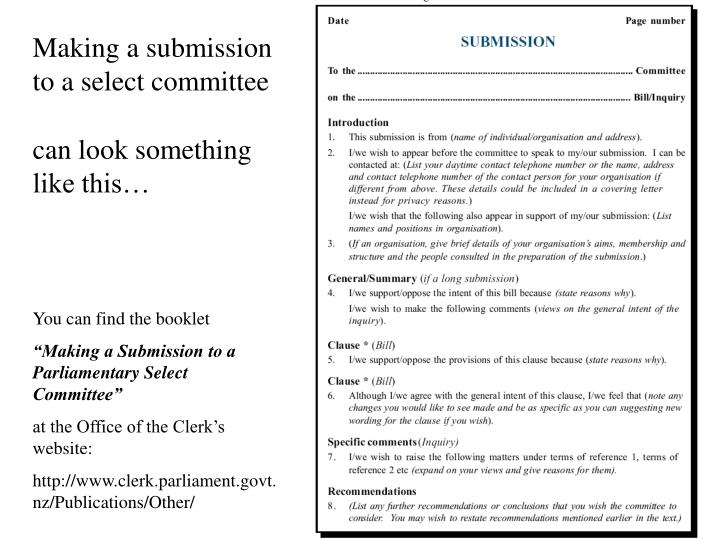 Making a submission to a select committee