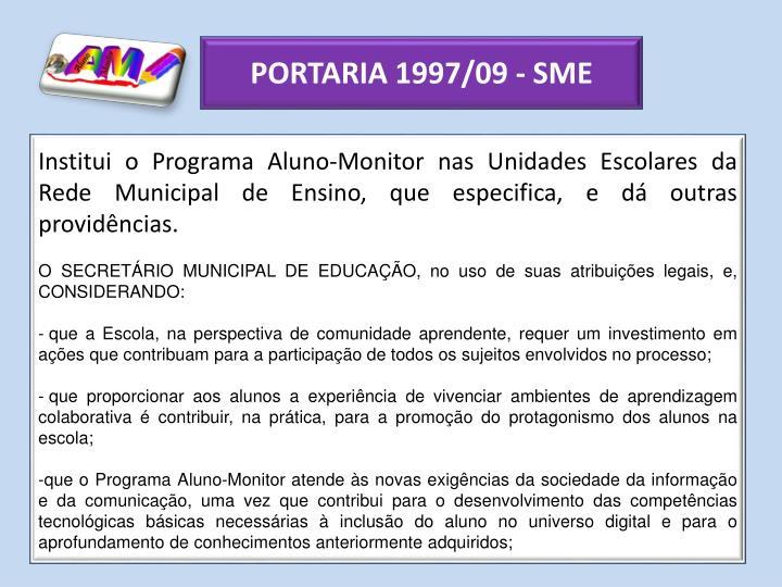 PORTARIA 1997/09 - SME