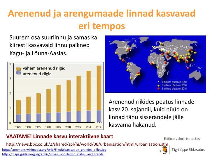 Arenenud ja arengumaade linnad kasvavad eri tempos