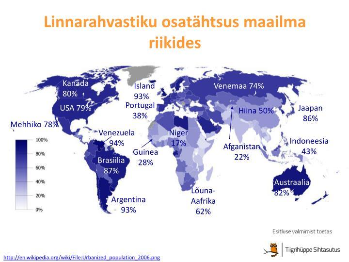 Linnarahvastiku osatähtsus maailma riikides