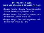 pp no 19 th 2005 bab viii standar pengelolaan