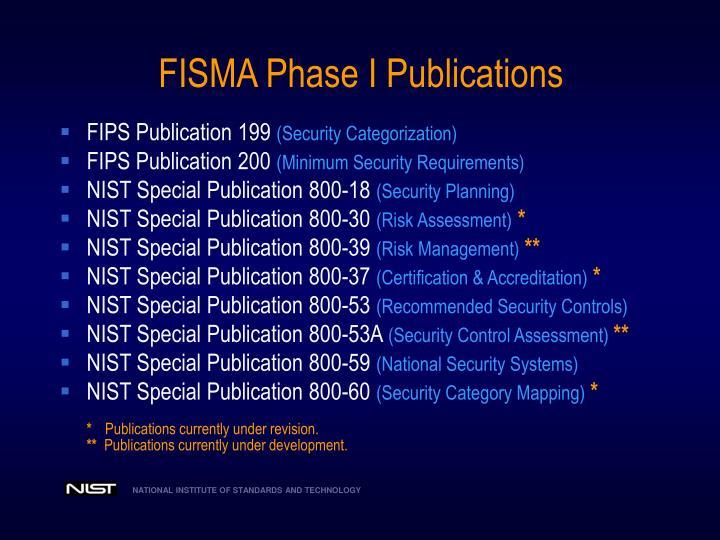 FISMA Phase I Publications