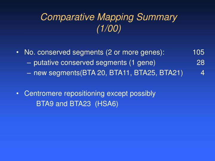Comparative Mapping Summary