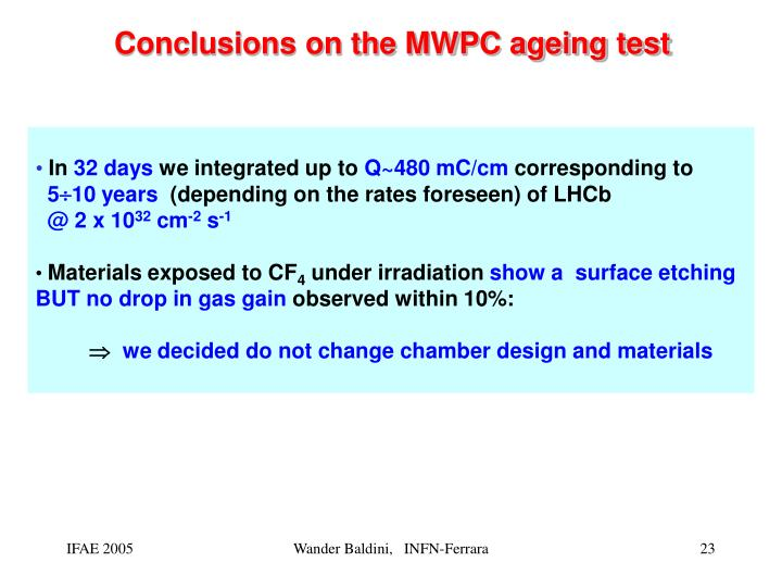 Conclusions on the MWPC ageing test