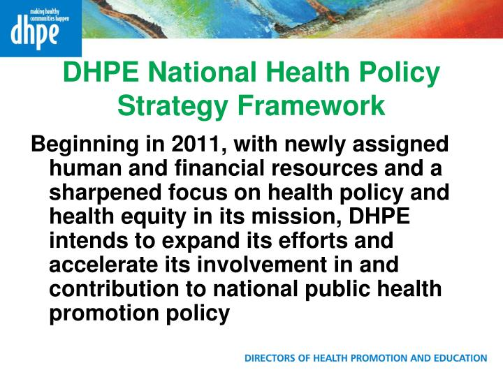 DHPE National Health Policy Strategy Framework